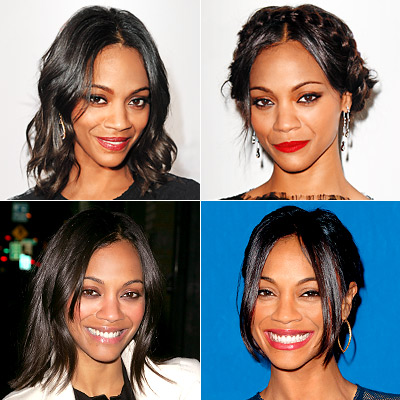 Zoe saldana different layered hairstyles